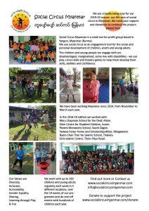 Social Circus Myanmar flyer 2019-20 fundraising