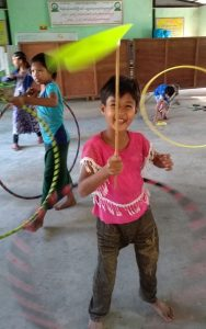 happy plate spinner at Parami school 061219
